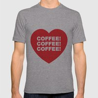 COFFEE! Mens Fitted Tee Athletic Grey SMALL