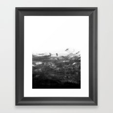 Durand - black and white minimal painting india ink brushstrokes abstract art canvas for home decor Framed Art Print