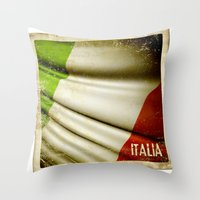 Grunge Sticker Of Italy … Throw Pillow