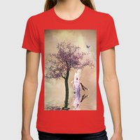 Blossom Angel Womens Fitted Tee Red SMALL