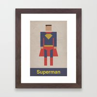 Man of Steel Retro Framed Art Print