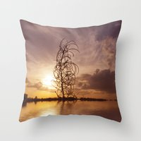 Digital sunsets  Throw Pillow