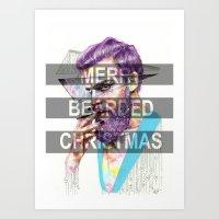 Merry Bearded X-mass Art Print