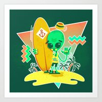 Alien Surfer Nineties Pa… Art Print