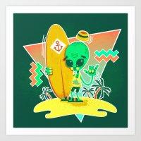 Alien Surfer Nineties Pattern Art Print