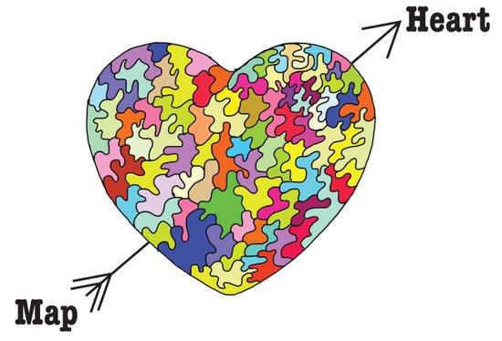 Heart Map Art Print