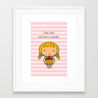Keep calm and have a cupcake. Framed Art Print