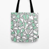 Abstraction Lines with Mint Blocks Tote Bag