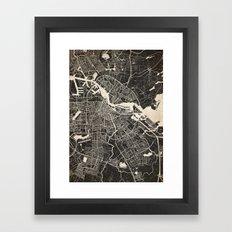 Amsterdam map ink lines Framed Art Print