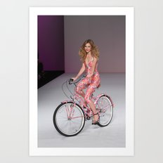 Girls on Bikes Art Print