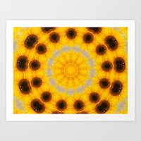 Sunflower And Bee Abstra… Art Print