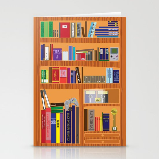 Video Game Geek's Bookshelf Stationery Card