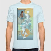 Skeleton Surf Mens Fitted Tee Light Blue SMALL