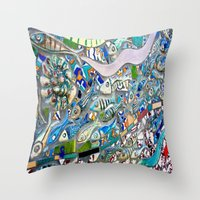 Venice Beach Bathroom Art Throw Pillow