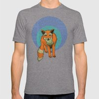 Fox at night Mens Fitted Tee Tri-Grey SMALL