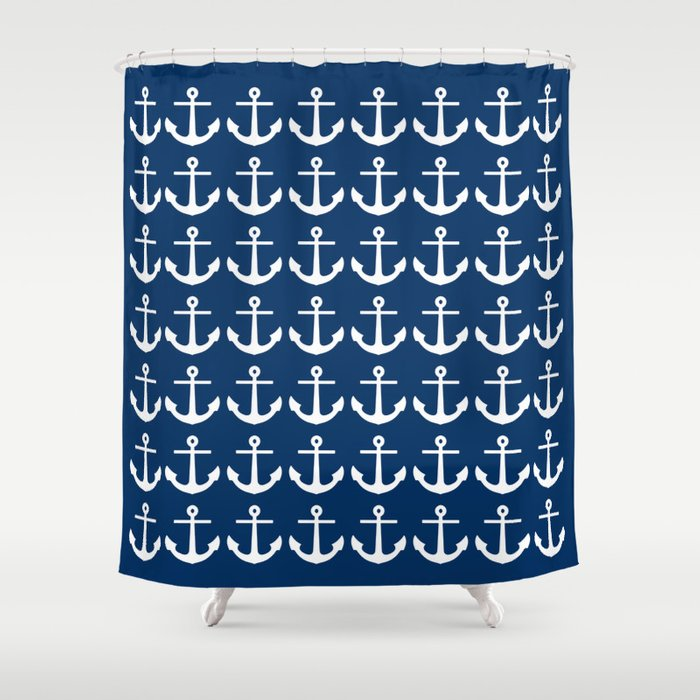 Anchors Navy Blue Shower Curtain By M Studio Society6