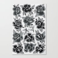 Dozen Roses - Black And … Canvas Print