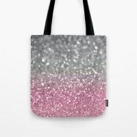 Gray And Light Pink Tote Bag