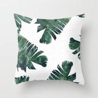 Banana Leaf Watercolor P… Throw Pillow