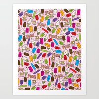 Ice Cream Doodles Art Print