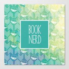 Book Nerd Green Watercolor Canvas Print