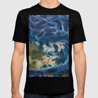 Abstract coralline algae in rock pool on beach in Queensland Mens Fitted Tee Black SMALL