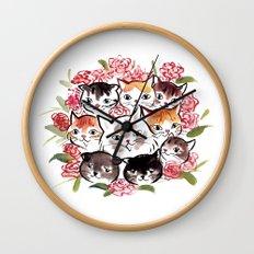 Happy Cats Flower Ball Wall Clock