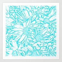 Daisy Daisy in Southwest Turquoise Art Print