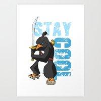 Stay Cool Samurai Penguin Art Print