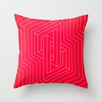 Modern minimal Line Art / Geometric Optical Illusion - Red Version  Throw Pillow