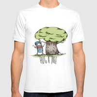 Hug a tree Mens Fitted Tee White SMALL
