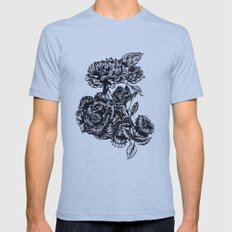 Peonies, black & white  Mens Fitted Tee Athletic Blue SMALL