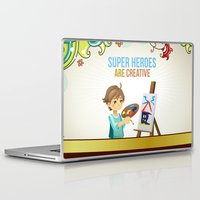 super heroes Laptop & iPad Skins featuring Super Heroes Are Creative by youngmindz
