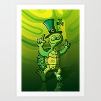 Saint Patrick's Day Green Turtle Art Print