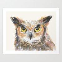 Owl Grey Horned Watercolor Art Print
