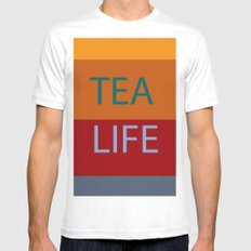 tea White SMALL Mens Fitted Tee