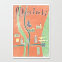 Downtown Milwaukee Map Canvas Print