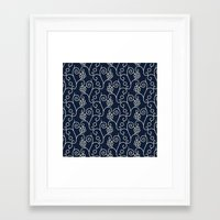 Framed Art Prints featuring Abstract Decorative Pattern 11 - Cream Flowers on Blue Background by deceangabriela