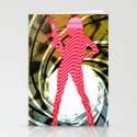 PowerWoman - Pink stripes sCrew 2 Stationery Cards