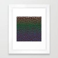 LEOPARD Hue-TAUPE GREEN … Framed Art Print
