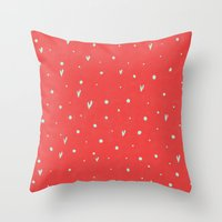 Coral Hearts Throw Pillow