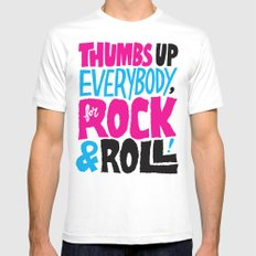Thumbs Up Everybody, For Rock & Roll! SMALL White Mens Fitted Tee