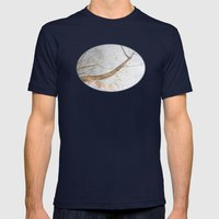 Watercolor under the trees Mens Fitted Tee Navy SMALL