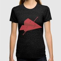 Paper Plane Womens Fitted Tee Tri-Black SMALL