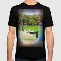 Dilapidated wharf on a tranquil river Mens Fitted Tee Black SMALL