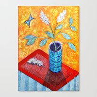 White Lilac and Butterfly Canvas Print