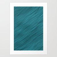 Stripes - turchese Art Print