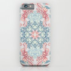 Vintage Fancy - a Pattern in Pale Blue, Navy & Deep Rose Slim Case iPhone 6s