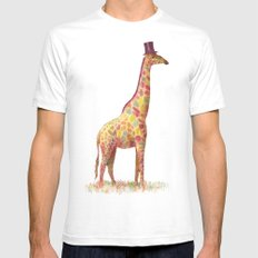 Fashionable Giraffe Mens Fitted Tee SMALL White