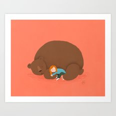 Bear and girl: sleeping Art Print